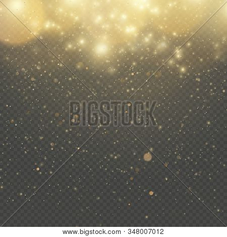 Christmas Or New Year Glowing Sparkles Rain. Abstract Gold Glitter Space Nebula Shine Effect. Golden