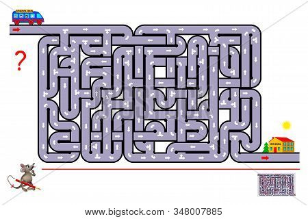Logic Puzzle Game With Labyrinth. Help The School Bus Bring The Children To School. Find The Way And