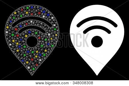 Bright Mesh Wi-fi Map Marker Icon With Lightspot Effect. Abstract Illuminated Model Of Wi-fi Map Mar