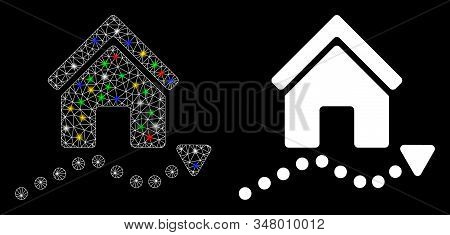 Glossy Mesh Realty Trend Icon With Sparkle Effect. Abstract Illuminated Model Of Realty Trend. Shiny