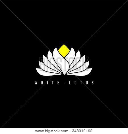 White Lotus Vector Illustration For Logo Template Design