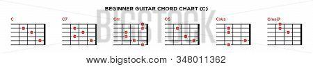 Basic Guitar Chord Chart Icon Vector Template. C Key Guitar Chord.