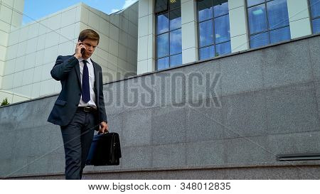 Lawyer Talking On Phone, Concerned About Bad News Loosing Case In Court, Problem