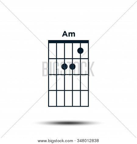 Am, Basic Guitar Chord Chart Icon Vector Template