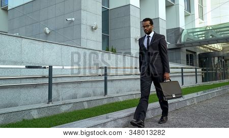 Overworked Office Worker Walking By Business Center Burnout At Work Avitaminosis