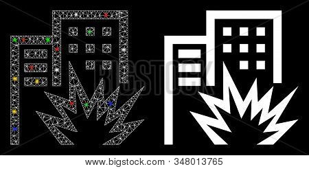 Flare Mesh House Terror Icon With Glare Effect. Abstract Illuminated Model Of House Terror. Shiny Wi