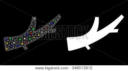 Glossy Mesh Firewood Icon With Lightspot Effect. Abstract Illuminated Model Of Firewood. Shiny Wire
