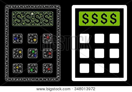 Glowing Mesh Book-keeping Calculator Icon With Glare Effect. Abstract Illuminated Model Of Book-keep