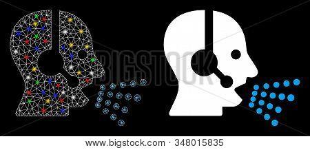 Flare Mesh Operator Speech Icon With Sparkle Effect. Abstract Illuminated Model Of Operator Speech.