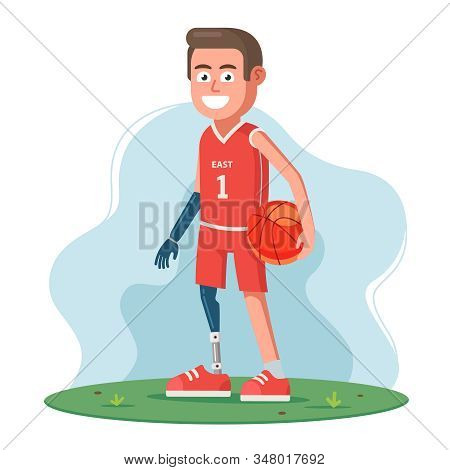 A Disabled Person Without Legs And Arms Uses Prostheses And Plays Basketball. Flat Character Vector