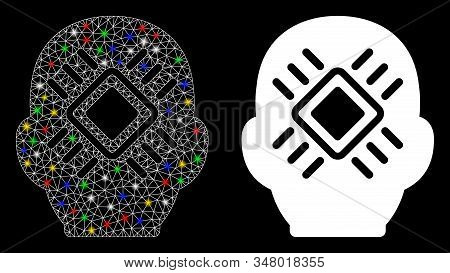 Glossy Mesh Cyborg Head Icon With Glitter Effect. Abstract Illuminated Model Of Cyborg Head. Shiny W