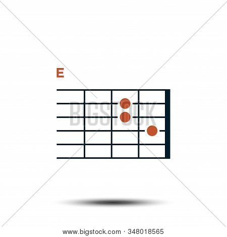 E, Basic Guitar Chord Chart Icon Vector Template