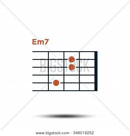 Em7, Basic Guitar Chord Chart Icon Vector Template