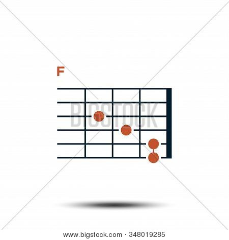 F, Basic Guitar Chord Chart Icon Vector Template