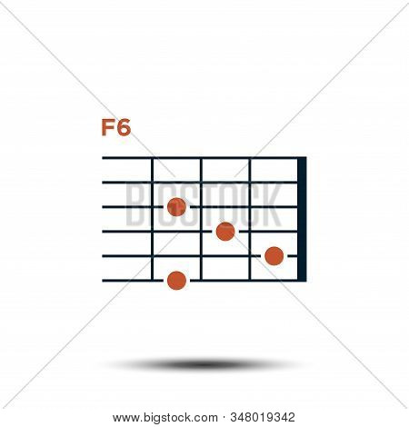 F6, Basic Guitar Chord Chart Icon Vector Template