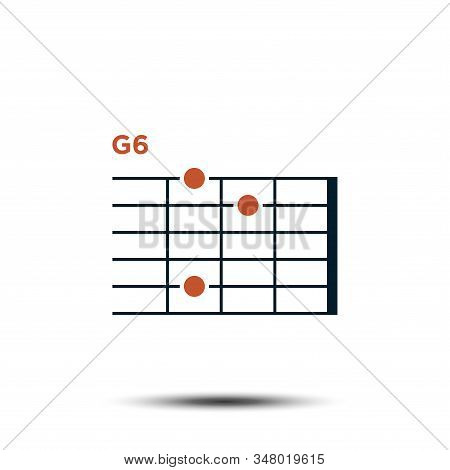 G6, Basic Guitar Chord Chart Icon Vector Template