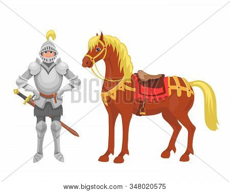 Knight With Armor And Horse Vector Illustration Fairy Tales Characters. Fantasy Medieval Knight Hero