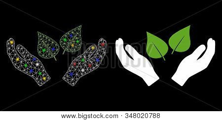 Glossy Mesh Flora Care Hands Icon With Glow Effect. Abstract Illuminated Model Of Flora Care Hands.