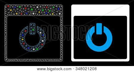Glossy Mesh Switch On Calendar Page Icon With Glitter Effect. Abstract Illuminated Model Of Switch O