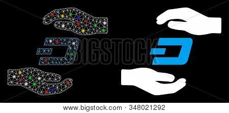 Glossy Mesh Dash Care Hands Icon With Glitter Effect. Abstract Illuminated Model Of Dash Care Hands.
