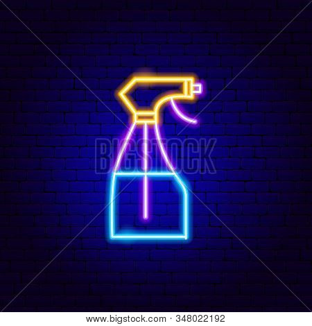 Pulverizer Neon Sign. Vector Illustration Of Water Promotion.
