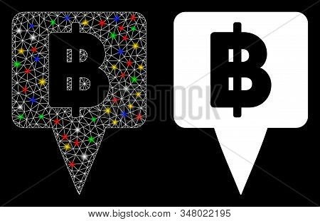 Glossy Mesh Thai Baht Map Pointer Icon With Sparkle Effect. Abstract Illuminated Model Of Thai Baht