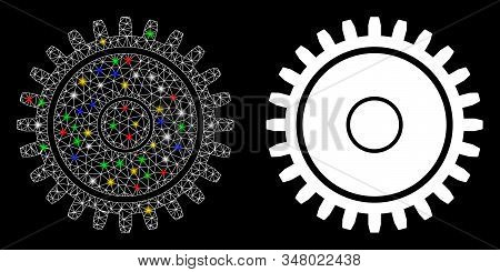 Bright Mesh Cogwheel Icon With Glare Effect. Abstract Illuminated Model Of Cogwheel. Shiny Wire Carc