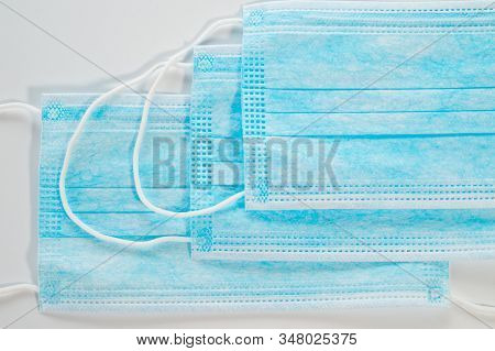 Gauze Medical Face Masks. Protection Against Viruses And Flu. Background For Healthcare. Individual