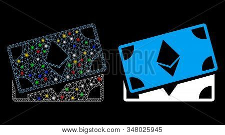 Glossy Mesh Ethereum Banknotes Icon With Sparkle Effect. Abstract Illuminated Model Of Ethereum Bank