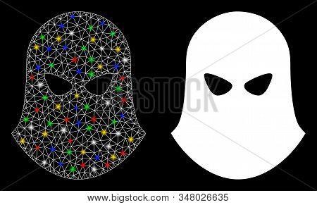 Glossy Mesh Terrorist Balaklava Icon With Glow Effect. Abstract Illuminated Model Of Terrorist Balak