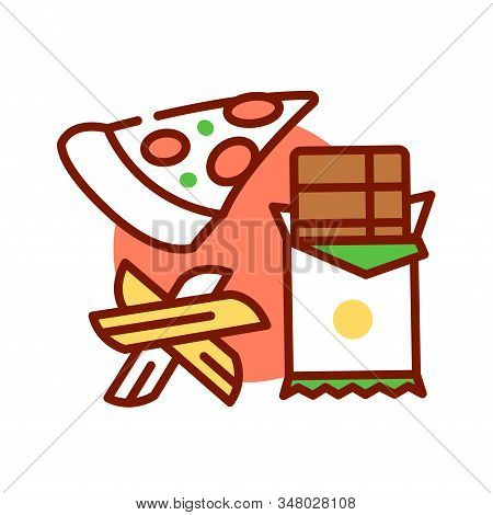 Dirty Keto Color Line Icon. Lazy Keto. Allows For Highly Processed And Packaged Foods. Pictogram For
