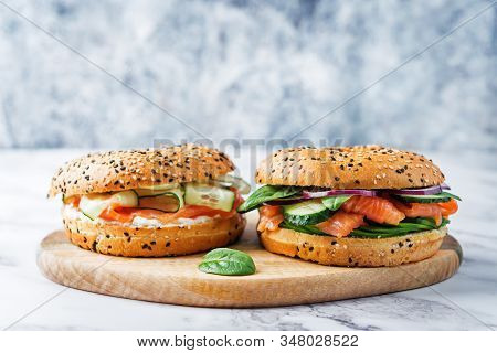 Smoked Salmon Ricotta Cheese Cucumber Bagel With Sesame Seeds Sprinkles