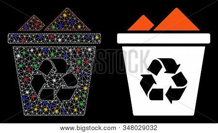 Flare Mesh Full Recycle Bin Icon With Glow Effect. Abstract Illuminated Model Of Full Recycle Bin. S