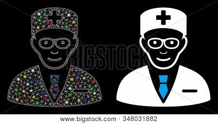 Glossy Mesh Head Physician Icon With Glare Effect. Abstract Illuminated Model Of Head Physician. Shi