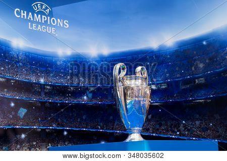 Uefa Champions League Cup Trophy On Bratislava Ifa International Exhibition Stand. Bratislava, Slova