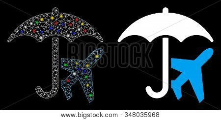 Glossy Mesh Aviation Umbrella Icon With Lightspot Effect. Abstract Illuminated Model Of Aviation Umb