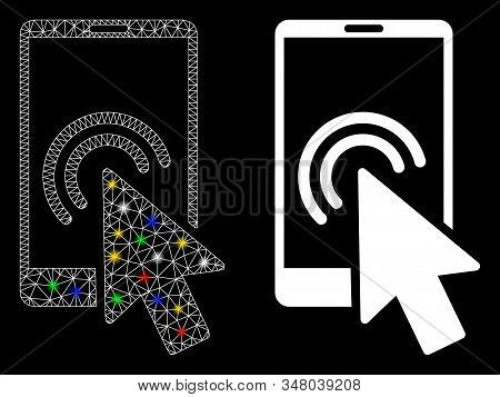 Glowing Mesh Arrow Double Click Smartphone Icon With Sparkle Effect. Abstract Illuminated Model Of A