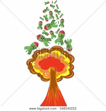 Green Atomic Bomb With Radiation Sign On White Background. Nuclear Rocket. Weapon Icon. Explode Flas