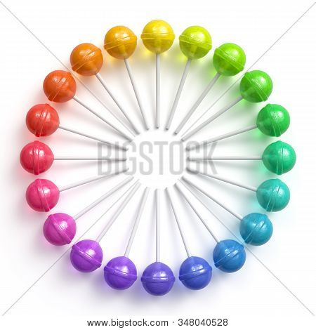 Sweet Multicolored Lollipops Arranged In Circle Frame