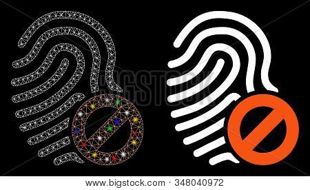 Glossy Mesh Banned Fingerprint Icon With Glow Effect. Abstract Illuminated Model Of Banned Fingerpri
