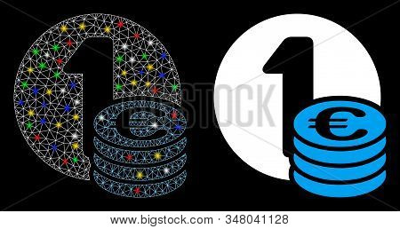 Glossy Mesh Euro Coin Column Icon With Glare Effect. Abstract Illuminated Model Of Euro Coin Column.
