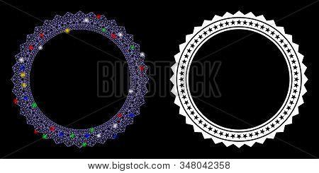 Bright Mesh Rosette Circular Star Frame Icon With Glare Effect. Abstract Illuminated Model Of Rosett