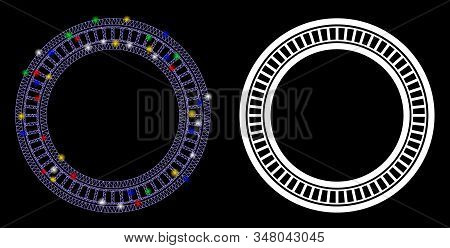 Glowing Mesh Double Circle Frame Icon With Lightspot Effect. Abstract Illuminated Model Of Double Ci