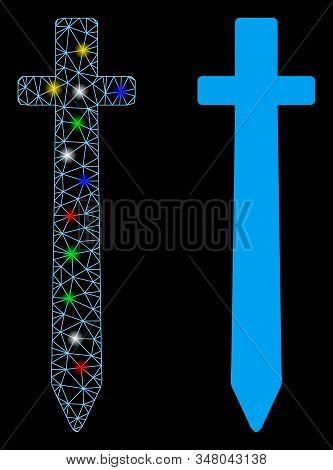 Glossy Mesh Symbolic Sword Icon With Glow Effect. Abstract Illuminated Model Of Symbolic Sword. Shin