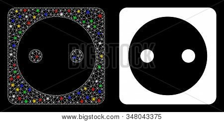 Flare Mesh Electric Socket Icon With Glitter Effect. Abstract Illuminated Model Of Electric Socket.
