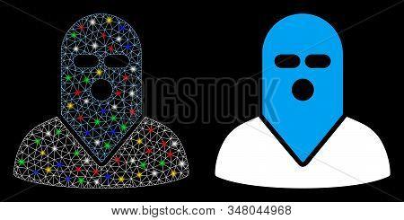 Glossy Mesh Masked Killer Icon With Glare Effect. Abstract Illuminated Model Of Masked Killer. Shiny