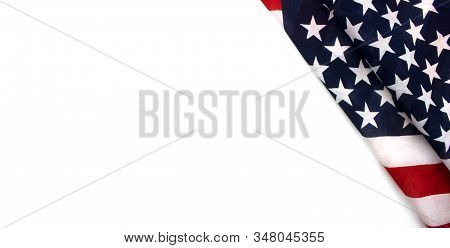 American Flag Flat Lay Isolated On White Background. Presidents Day, 4th Of July, Veterans Day, Labo