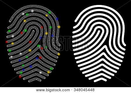 Glowing Mesh Finger Print Icon With Lightspot Effect. Abstract Illuminated Model Of Finger Print. Sh