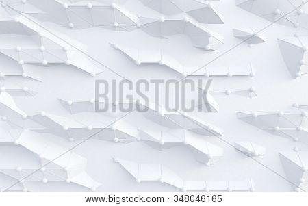 Cloud Computer And Science.abstract White Background Of Technology And Science. Mesh Or Net With Lin