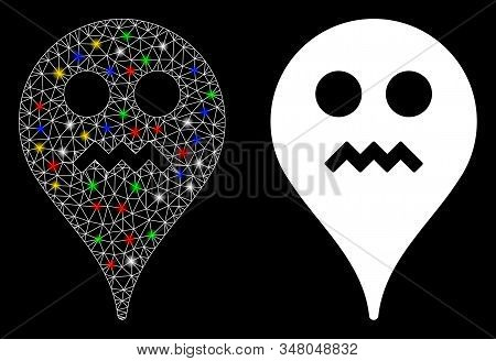 Glossy Mesh Angry Smiley Map Marker Icon With Glow Effect. Abstract Illuminated Model Of Angry Smile
